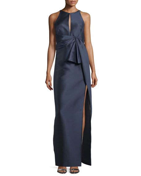 J. Mendel Pleated-Waist Column Gown, Marine