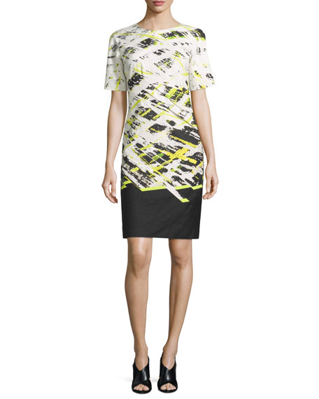 Short-Sleeve Printed Sheath Dress, Central Park