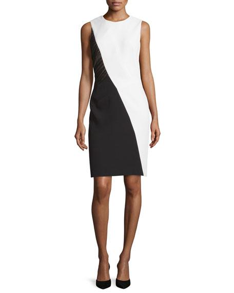 J. MendelSleeveless Colorblock Sheath Dress, Ivoire/Noir