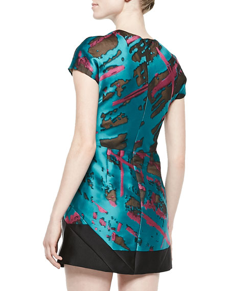 Short-Sleeve Panel-Skirt Dress
