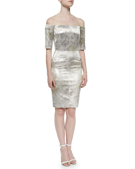 J. Mendel Off-the-Shoulder Metallic Sheath Dress, Aluminum