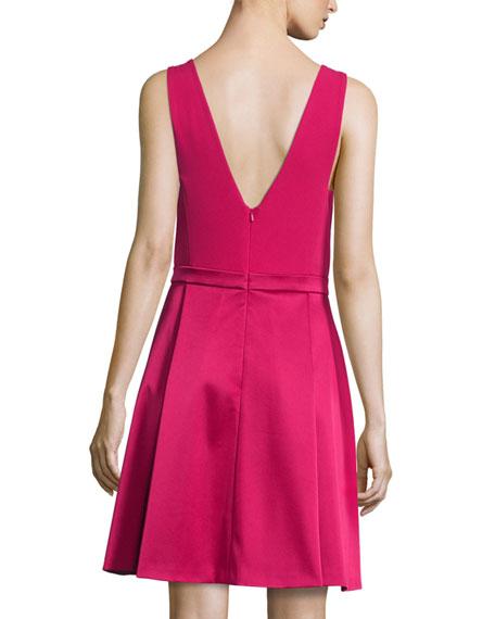V-Neck Fit-&-Flare Dress, Fuchsia