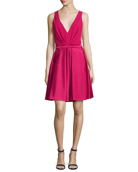J. Mendel V-Neck Fit-&-Flare Dress, Fuchsia