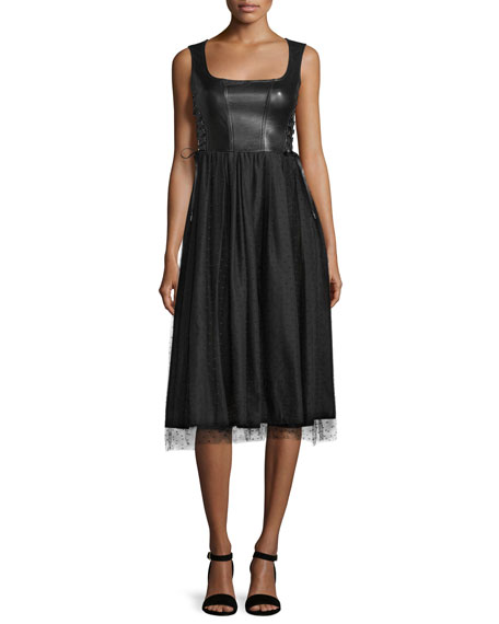 RED Valentino Sleeveless Leather and Point d'Esprit Skirt