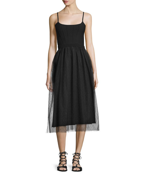 RED Valentino Sleeveless Combo Midi Dress, Black