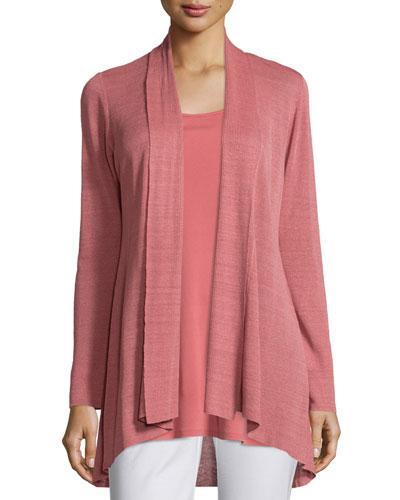 Linen-Blend Shaped Cardigan, Sandstone, Women's