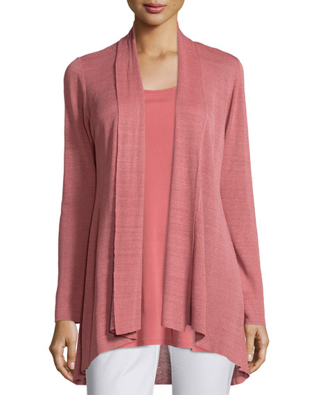Eileen Fisher Linen-Blend Shaped Cardigan, Sandstone, Plus Size