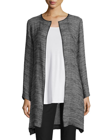 Eileen Fisher Organic Linen Open-Front Jacket, Black