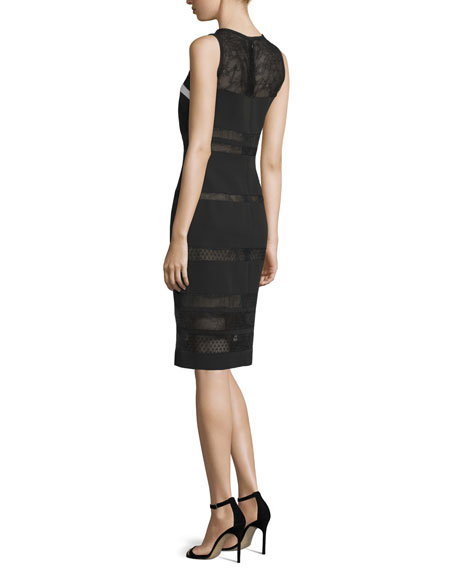 Sleeveless Mixed-Lace Sheath Dress, Noir