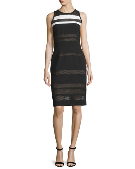 J. Mendel Sleeveless Mixed-Lace Sheath Dress, Noir