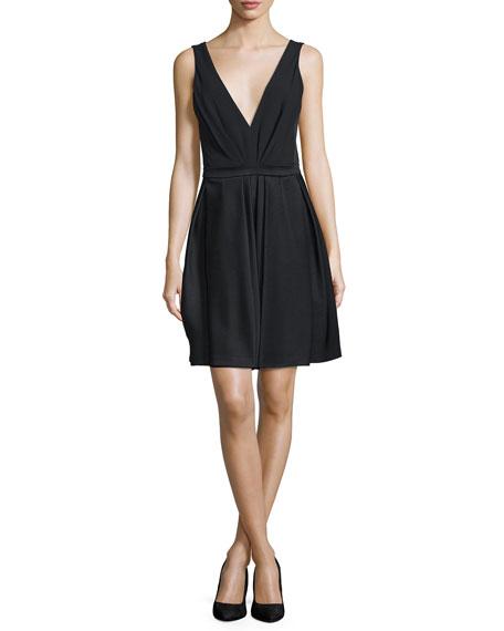 J. Mendel V-Neck Fit-&-Flare Dress, Noir
