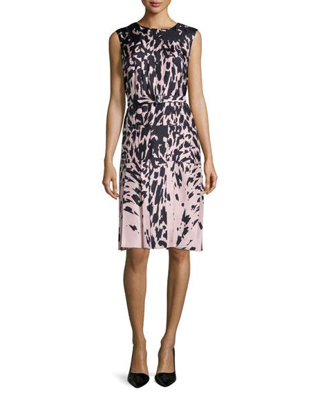 J. Mendel Sleeveless Feline-Print Dress, Kitten Pink/Noir