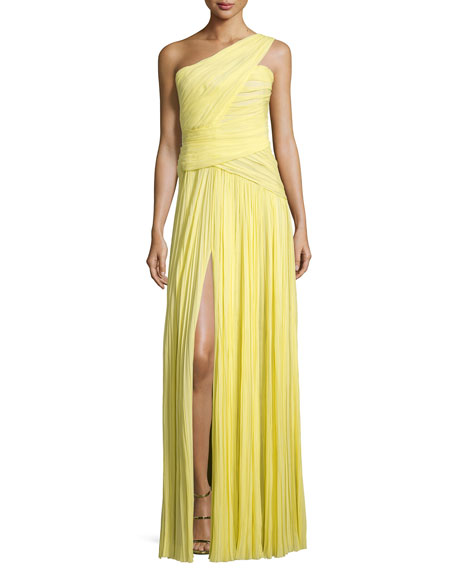 J. Mendel One-Shoulder Plisse Gown, Yellow Cab