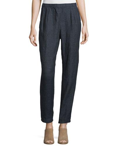 Organic Linen Straight-Leg Pants, Denim, Women's
