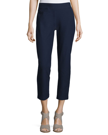 Eileen Fisher Stretch-Crepe Ankle Pants, Petite
