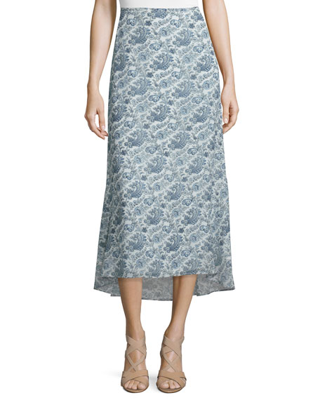Theory Vivridge Avery Long Floral-Printed Silk Skirt