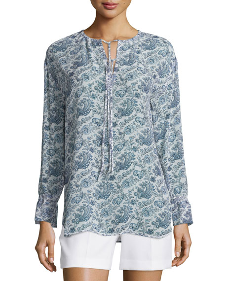 Theory Alrik Avery Printed Silk Blouse