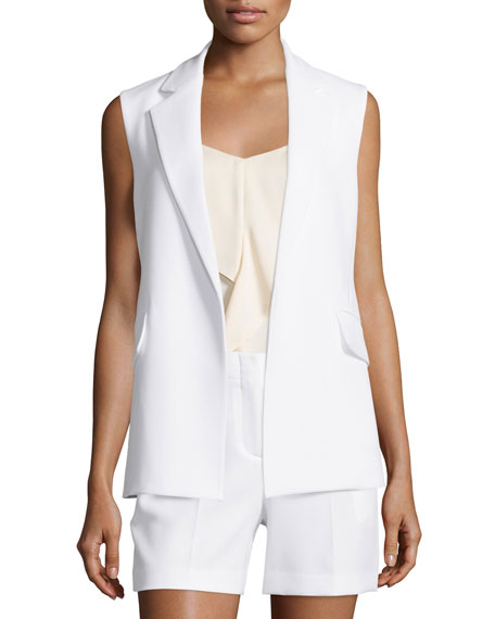 Theory Sedeia Admiral Crepe Open Vest, Eggshell