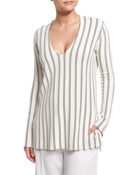 Theory Haydren Prosecco Double-Striped Sweater