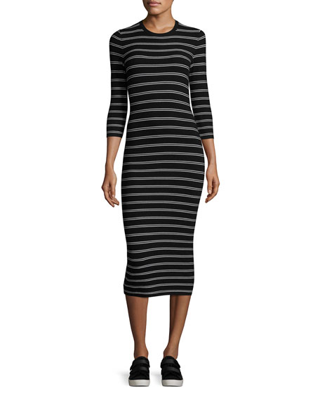 Theory Delissa B Prosecco Striped Midi Slim Dress