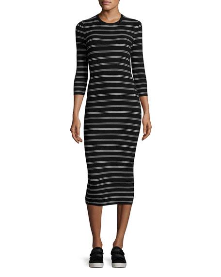 Theory Delissa B Prosecco Striped Midi Slim Dress