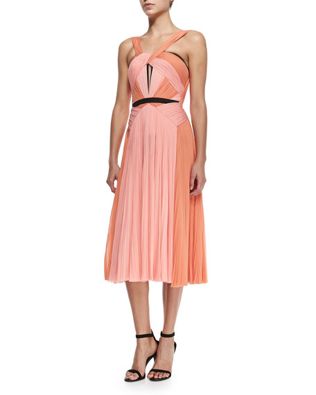 J. Mendel A-Line Dress W/ Draped Ruched Bodice