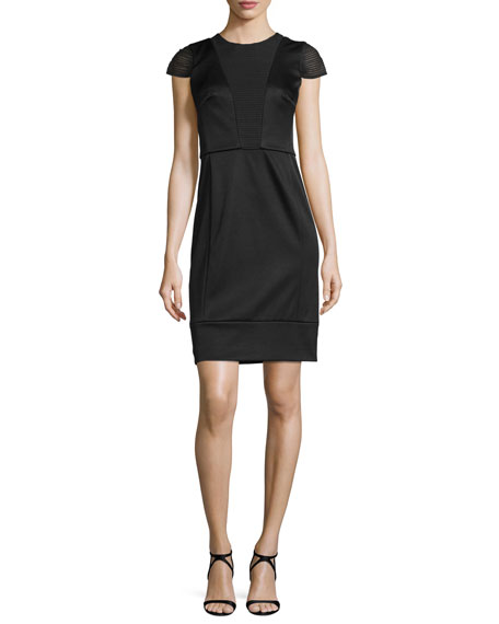 Short-Sleeve Combo Sheath Dress, Noir