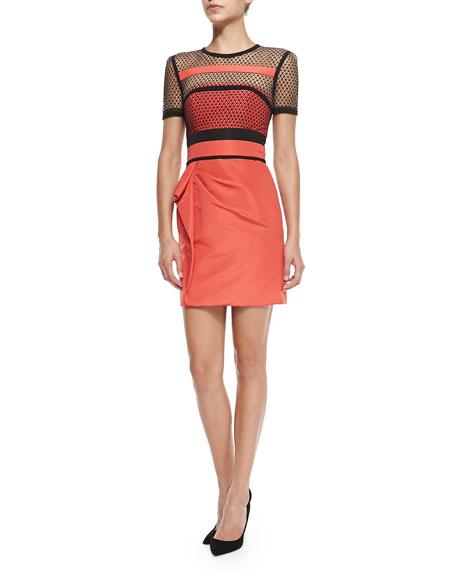 J. MendelShort-Sleeve Dress W/ Net Overlay