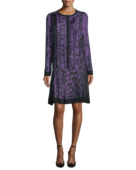 J. Mendel Long-Sleeve Printed Dress, Violet/Noir