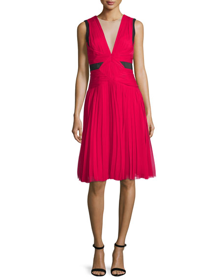 J. Mendel Sleeveless Illusion V-Neck Dress, Fuchsia