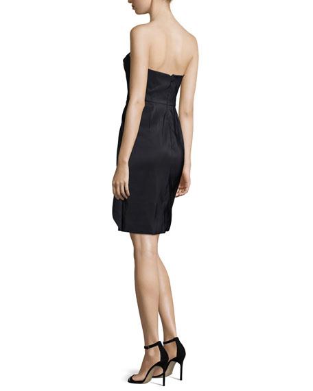 Bustier Structured-Skirt Dress, Noir