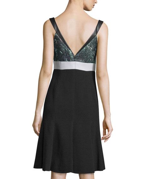 Sleeveless Fit-&-Flare Dress, Noir/Mint