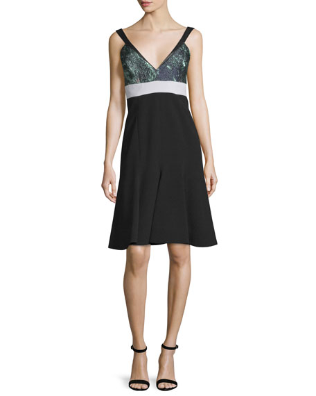 J. Mendel Sleeveless Fit-&-Flare Dress, Noir/Mint
