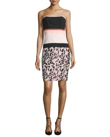 Strapless Colorblock Sheath Dress, Kitten Pink/Noir