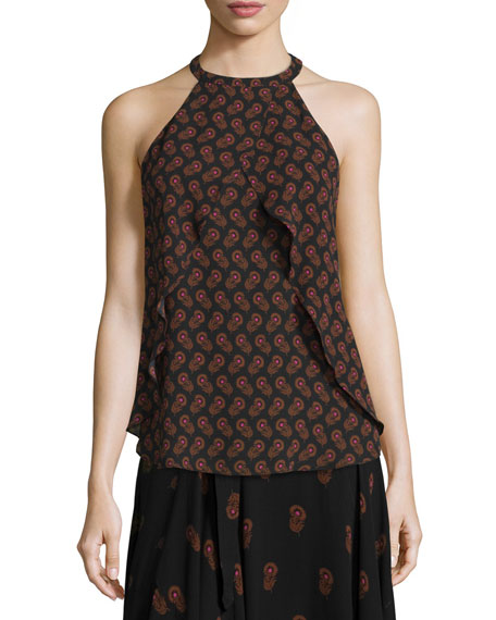 A.L.C. Iggy Draped Silk Dahlia Top, Black/Brown