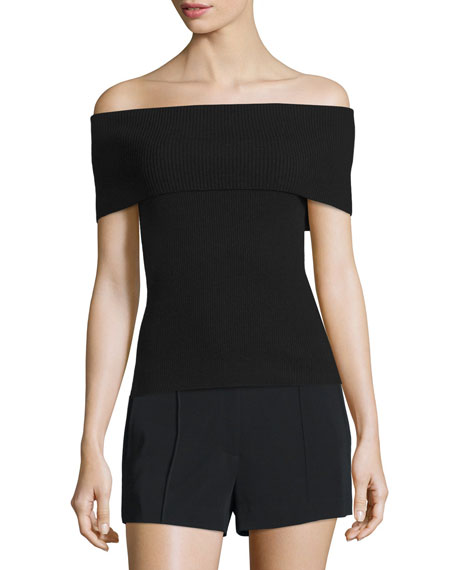 Sean Off-the-Shoulder Ribbed Merino Top, Black