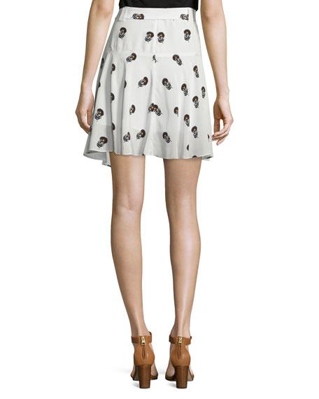 Brien Draped Silk Dahlia Skirt, Eggshell/Black