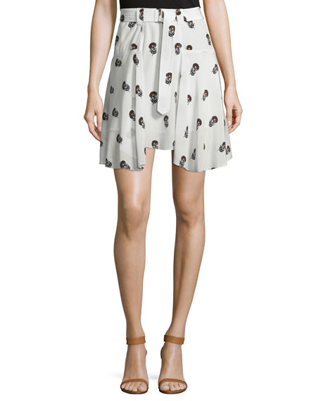 A.L.C. Brien Draped Silk Dahlia Skirt, Eggshell/Black