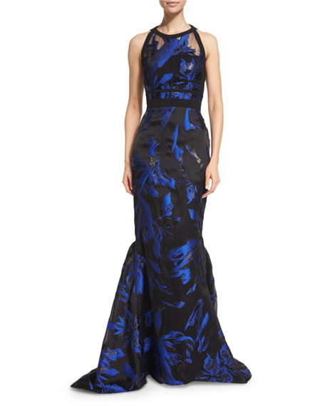 J. Mendel Halter-Neck Two-Tone Gown, Blue/Noir