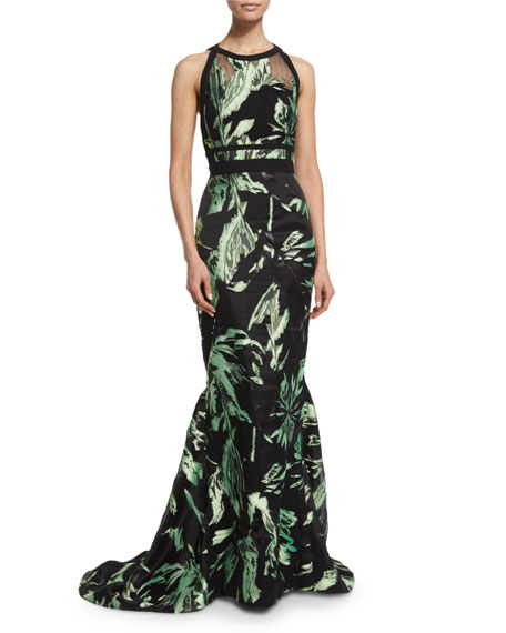 J. Mendel Halter-Neck Two-Tone Gown, Mint/Noir