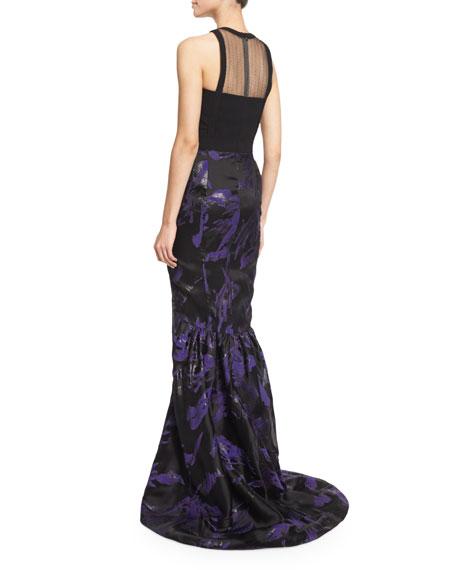 Halter-Neck Two-Tone Organza Gown, Violet/Black