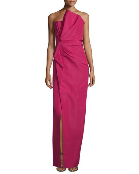 J. Mendel Strapless Fan-Pleated Column Gown, Fuchsia