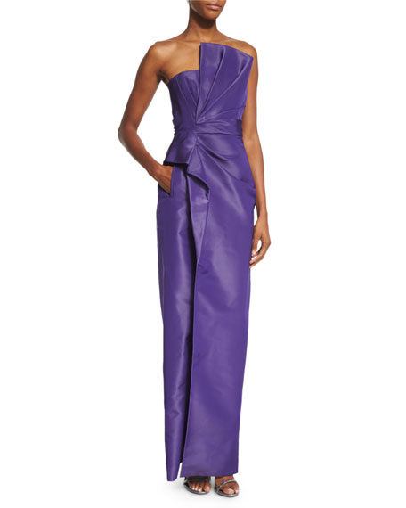 J. Mendel Strapless Fan-Pleated Column Gown, Violet