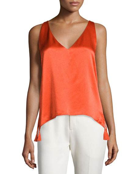 Foundrae Sleeveless Woven Cross-Back Blouse, Flame