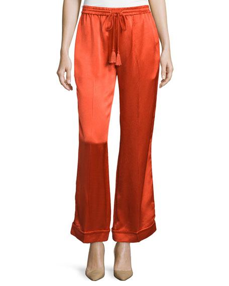 Foundrae Satin Drawstring Pajama Pants, Flame