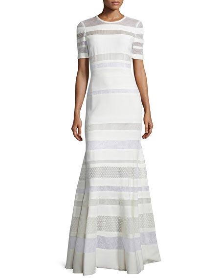 J. Mendel Short-Sleeve Banded-Lace Gown, Ivoire