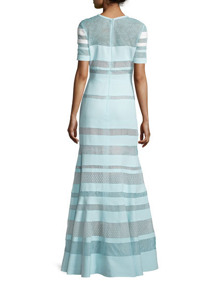 Short-Sleeve Banded-Lace Gown, Mint
