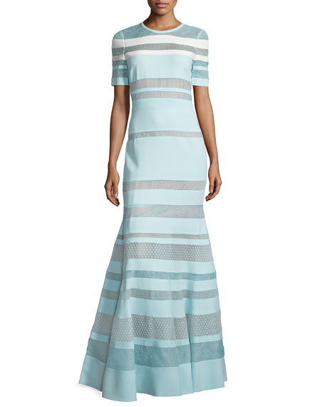 J. Mendel Short-Sleeve Banded-Lace Gown, Mint