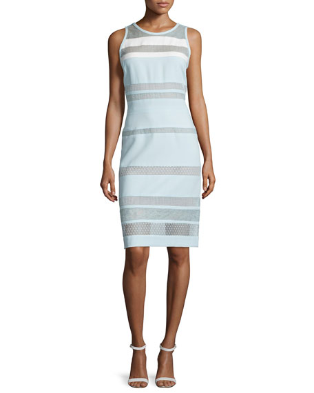 Sleeveless Banded-Lace Dress, Mint