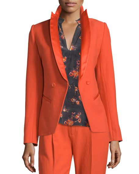 Sharp Open-Front Crepe Jacket, Flame